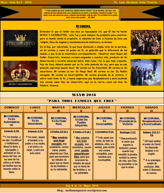 Devocional Semana 2 Mayo 2016